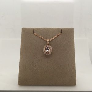Jewelry - 14K Rose Gold Morganite & Diamond Pendant